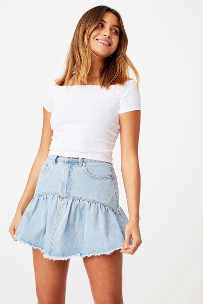 Ruffle Denim Mini Skirt, MID BLUE