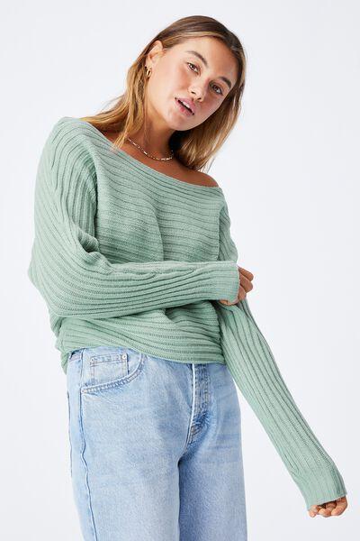 Lexis Off Shoulder Knit, SOFT MOSS