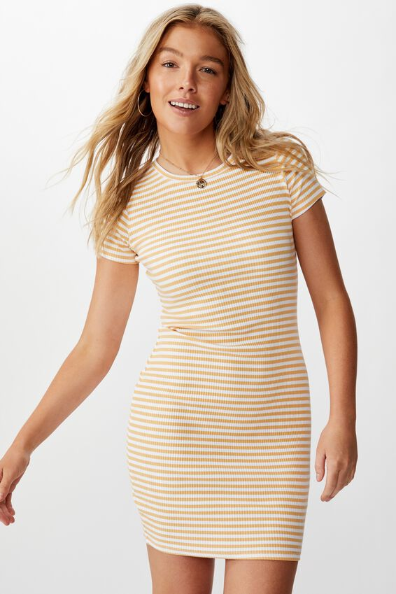 Lucia Rib Tee Mini Dress, SUNFLOWER YELLOW/WHITE (YD STRIPE)