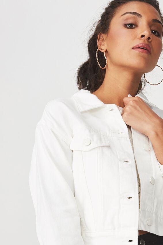 70S Cropped Denim Jacket, WHITE