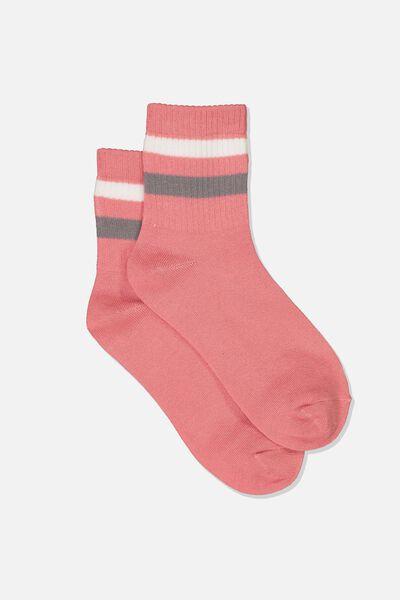 Ombre Stripe 90S Crew Socks, BLUSH/BLACK