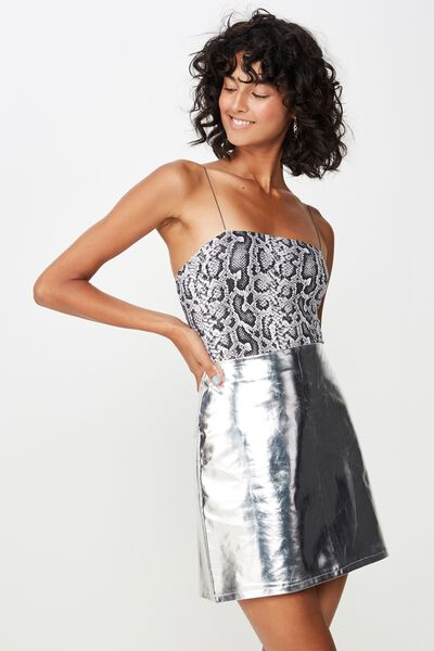Faux Leather A-Line Skirt, SILVER
