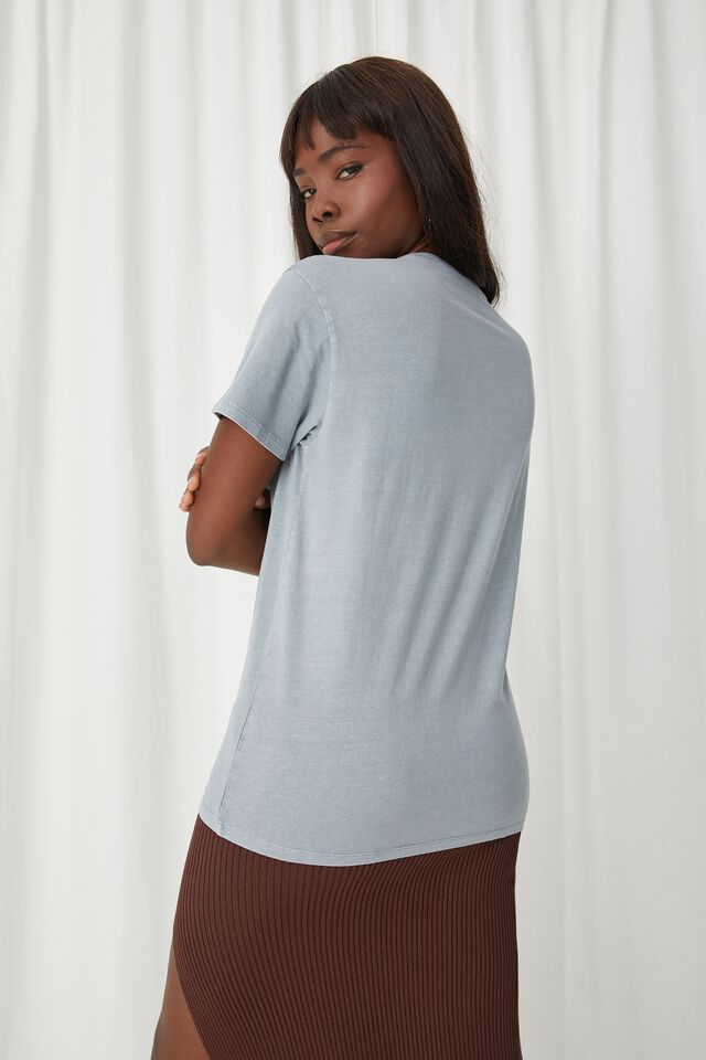 Lola Printed Longline T Shirt, VINTAGE WASH BLUE GREY/LA BASEBALL