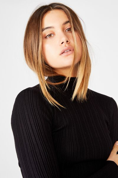 Monica High Neck Long Sleeve Knit, BLACK