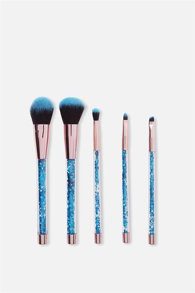 Glitter Make Up Brush Set, BLUE/GOLD