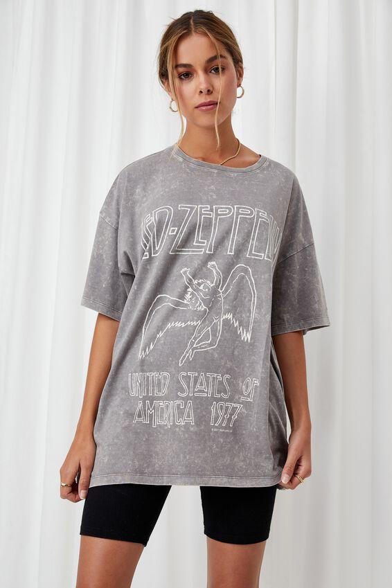 Oversized Led Zeppelin T Shirt, ACID WASH CEMENT GREY/LCN LED ZEPPELIN ANGEL
