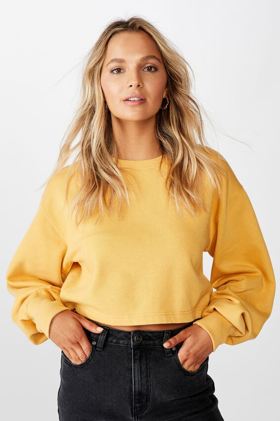 Crop Crew Neck Jumper, BLEACH WASH OCHRE