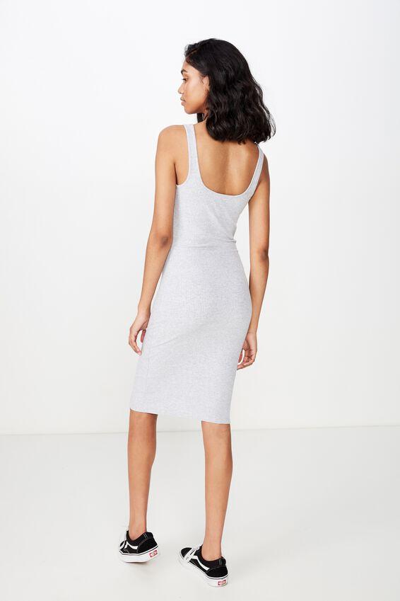 Edie Notch Rib Midi Dress, GREY MARLE