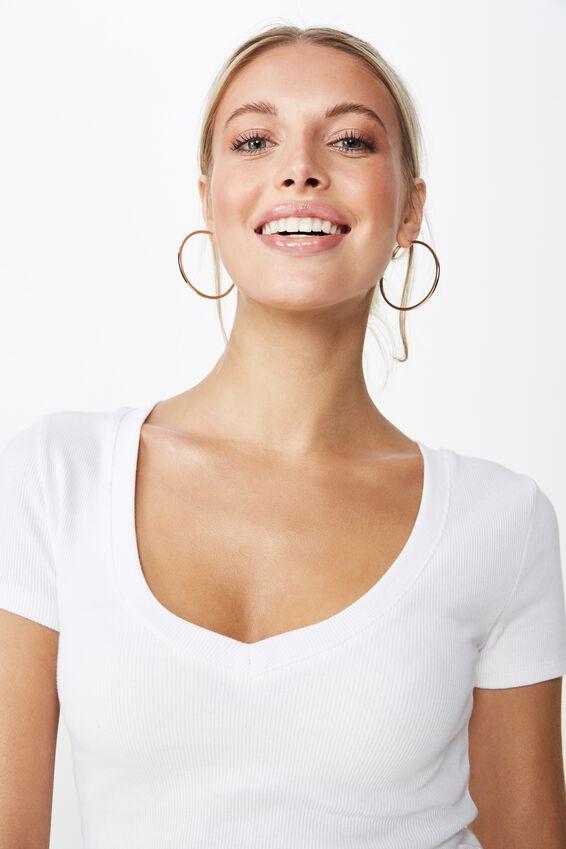 Lisa V Neck Rib Top, WHITE