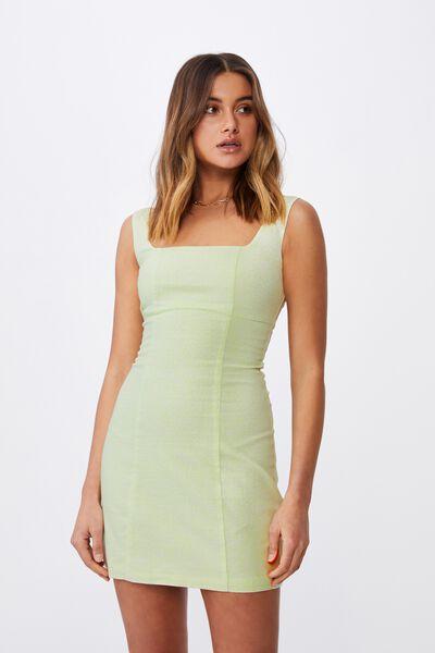 Capri Fitted Square Neck Mini Dress, CORA MONO FLORAL LIME