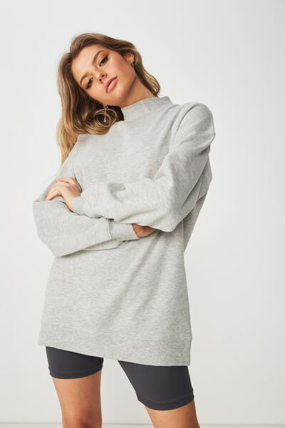 Lucy Long Sleeve Boyfriend Sweat, GREY MARLE