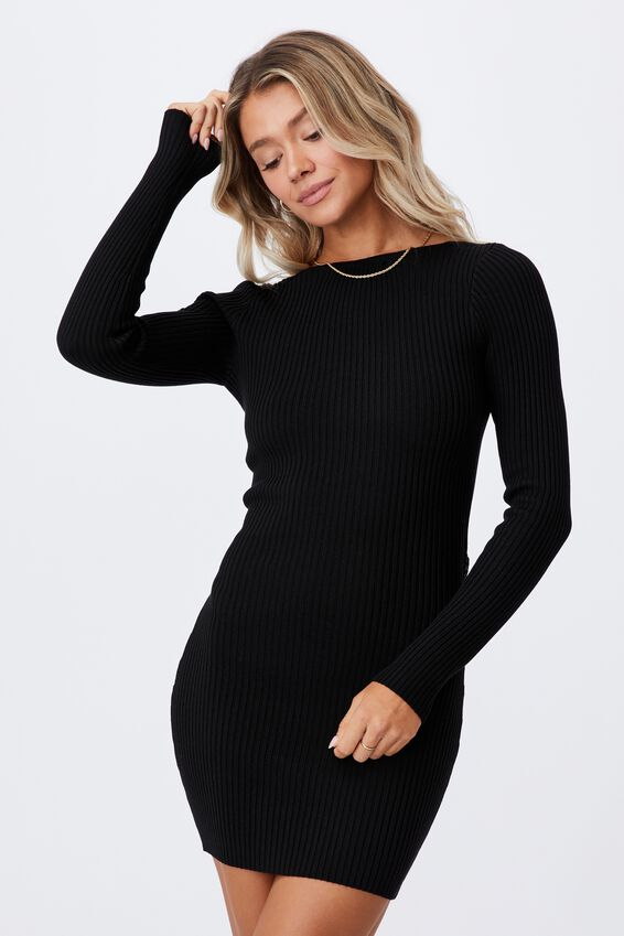 Long Sleeve Reversible Mini Dress, BLACK