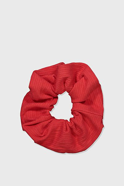 Knitted Rib Scrunchie, RED