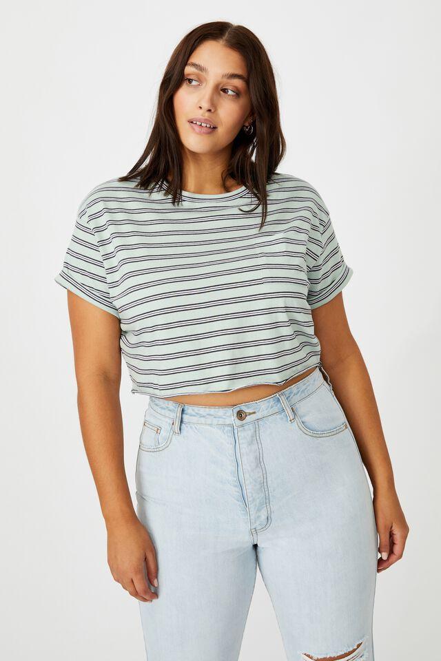 Ciara Crop T-Shirt, ELLY STRIPE (MINTY GREEN/PHTM/WHT)