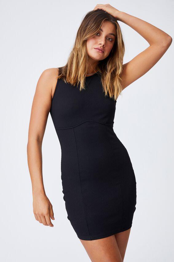Allie Fitted Mini Dress, BLACK