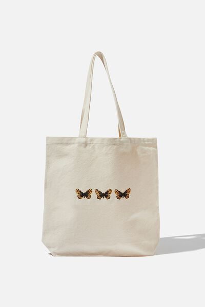 Canvas Tote, NATURAL/BUTTERFLY