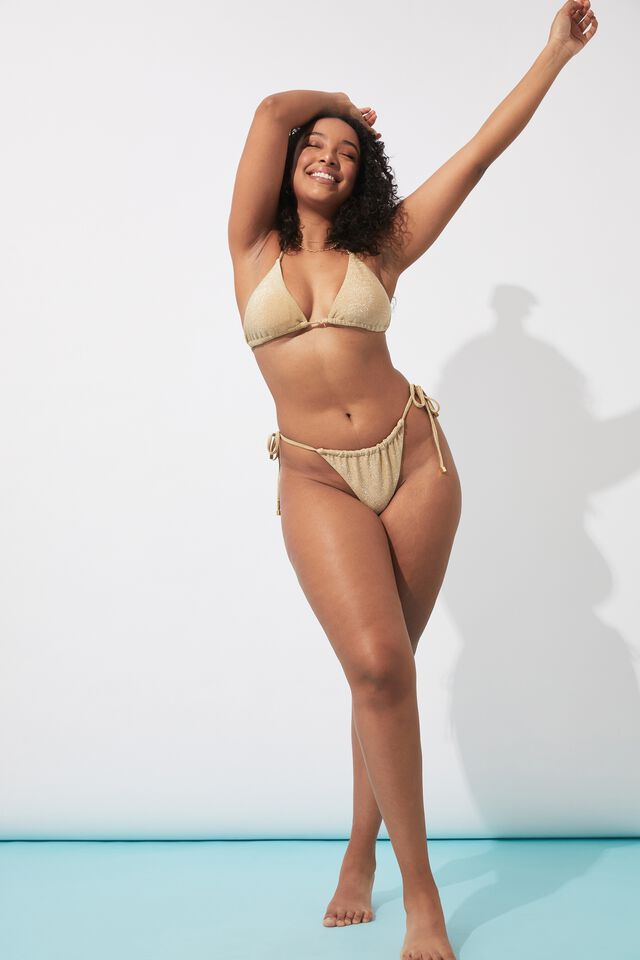Addison Lurex Gathered Bikini Bottom, METALLIC GOLD