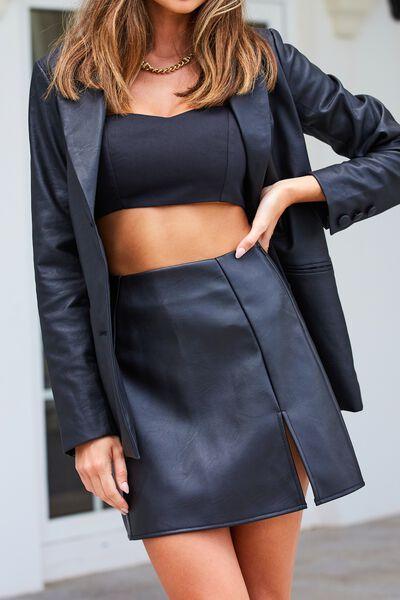 Shae Faux Leather Split Mini Skirt, BLACK