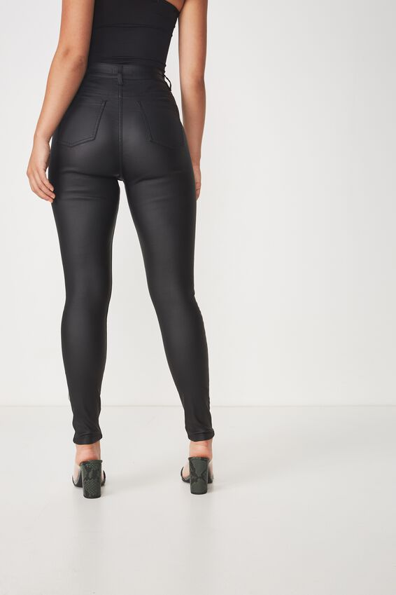The Super Skinny Coated Jean, BLACK COATED