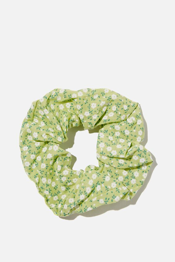 Floral Fields Scrunchie, LIME GREEN FLORAL
