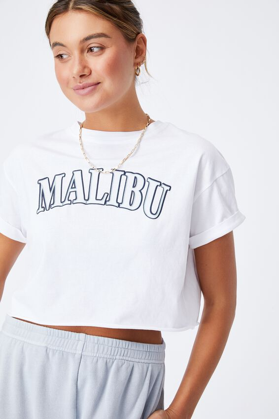 Tamara Printed Crop T Shirt, WHITE/MALIBU