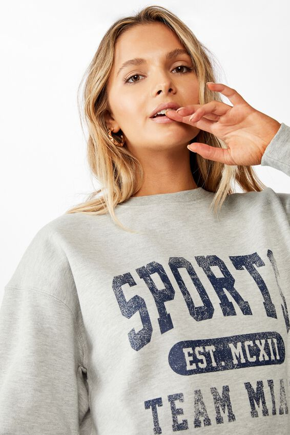 Oversized Crew Neck Jumper, GREY MARLE/SPORTS TEAM MIAMI