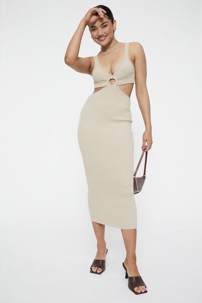 Perla Ring Front Midi Dress, BEIGE BUFF