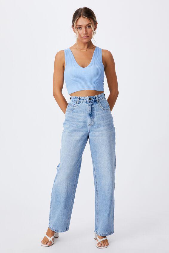 Danica V Neck Knit Top, BONNIE BLUE