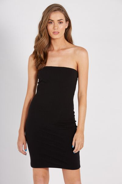 Basic Long Boobtube Dress, BLACK