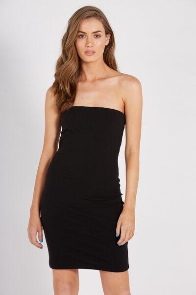 Basic Long Boobtube Dress, BLACK