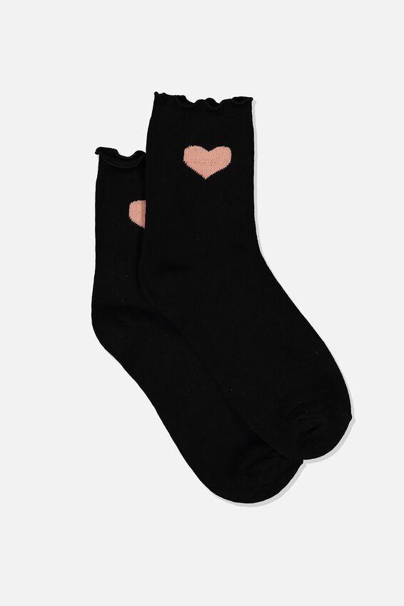 Frilled Edge Icon Socks, HEART