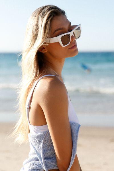 Esme Large Square Sunglasses, WHITE