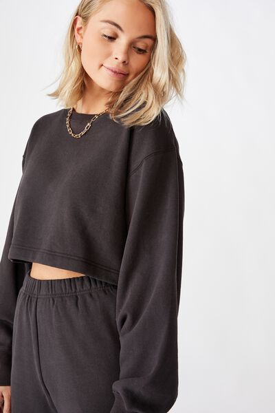 River Long Sleeve Crop Sweat, PHANTOM