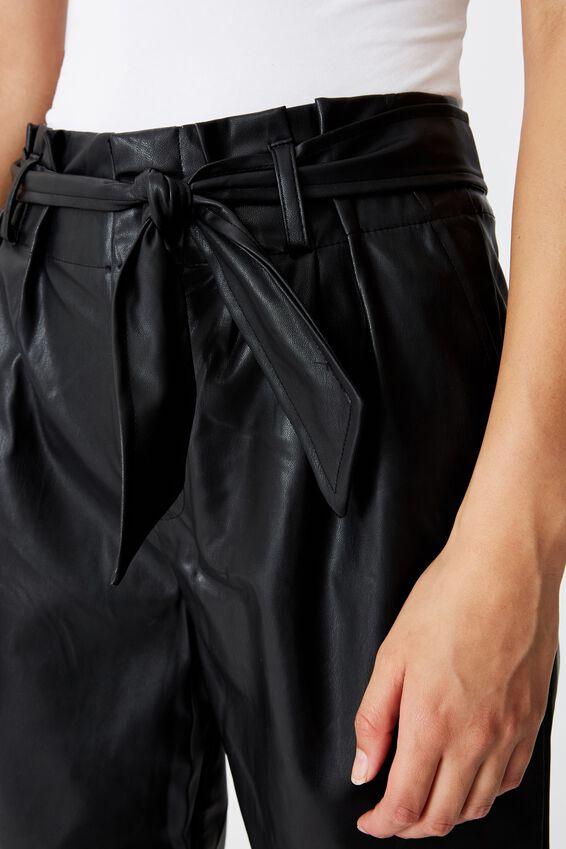 Jett Pu Paperbag Waist Pant, BLACK