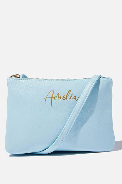 Customised Eliza Double Zip Bag, ICE BLUE PEBBLE