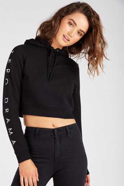Graphic Cropped Hoodie, BLACK/ZERO DRAMA