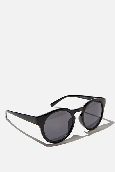 Lydia Round Sunglasses, BLACK
