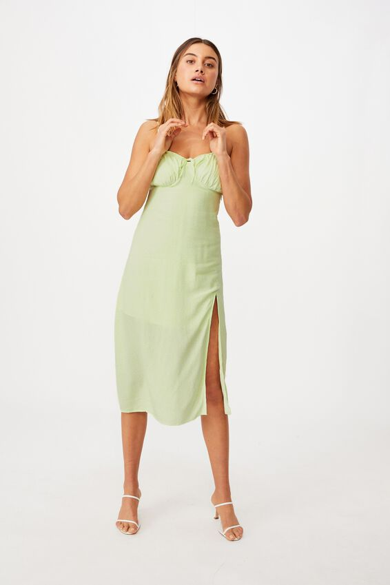 Juliet Split Front Midi Dress, CORA MONO FLORAL LIME
