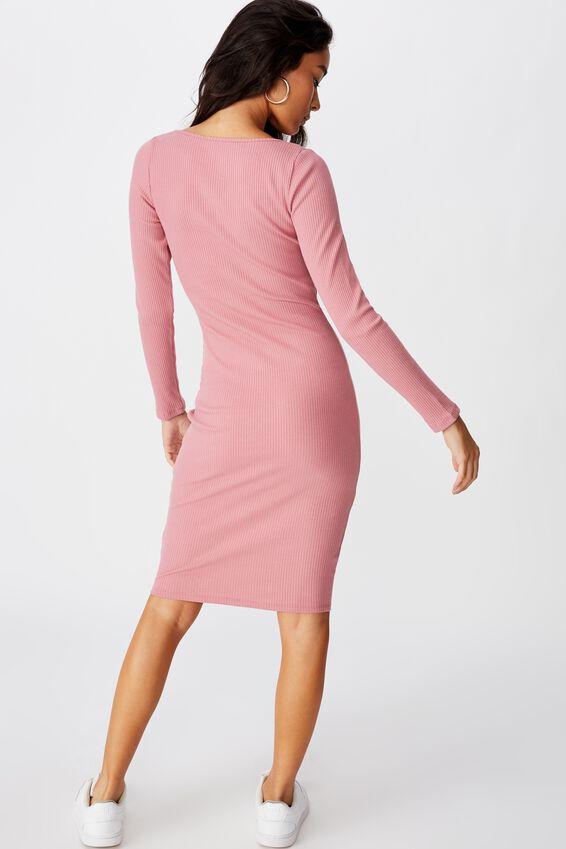 Seline Notch Front Dress, PINK ROUGE
