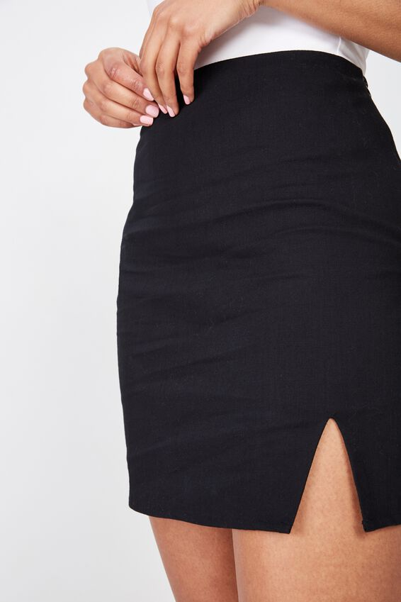 Lily Split Front Mini Skirt, BLACK