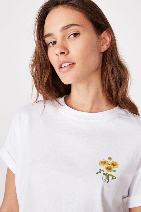 Tamara Printed Crop T Shirt, WHITE/SUNFLOWER BUNCH
