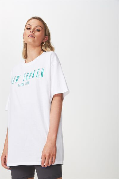 The Bike Short Oversized Tee, WHITE/NEW YORKER