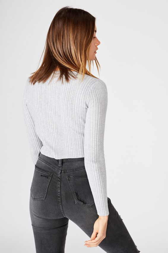 Naya Eyelet Long Sleeve Knit, GREY MARLE