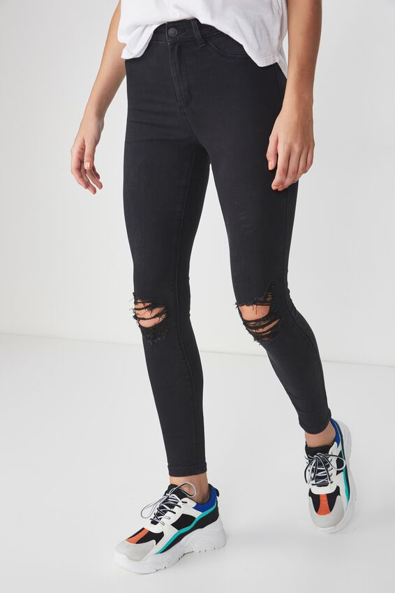 Super Skinny Ripped Jean, WASHED BLACK