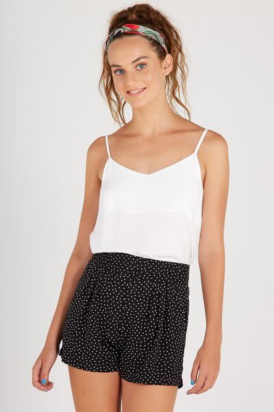 Pleat Waist Short, BLACK TINY SPOT