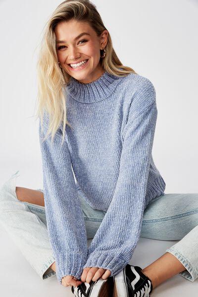 Vera Chenille Mock Neck Sweater, WINTER SKY BLUE