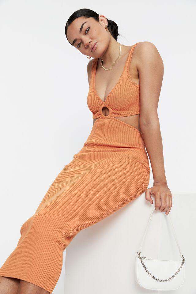 Perla Ring Front Midi Dress, SUNRISE ORANGE