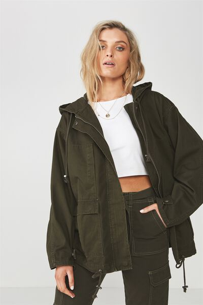 Oversized Camo Utility Hooded Jacket, DARK OLIVE