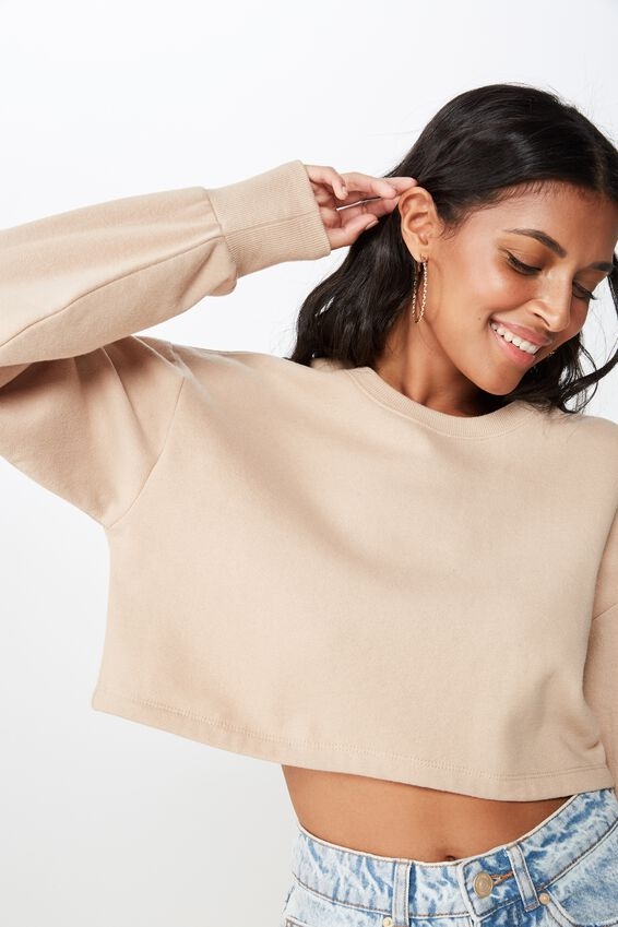 Kayla Long Sleeve Crop Sweat, BROWN SUGAR