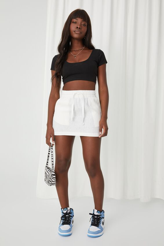 Orla Drawcord Linen Skirt, WHITE